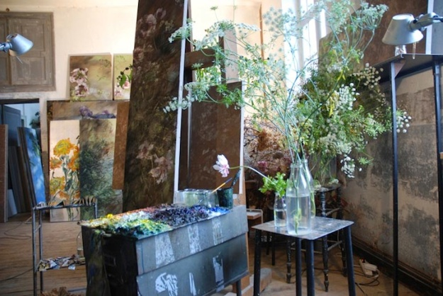 paintier Claire Basler's studio in renovated schoolhouse in Les Ornes outside Paris