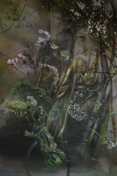 art and nature merge in vignette of cut flowers against backdrop of Claire Basler' mural