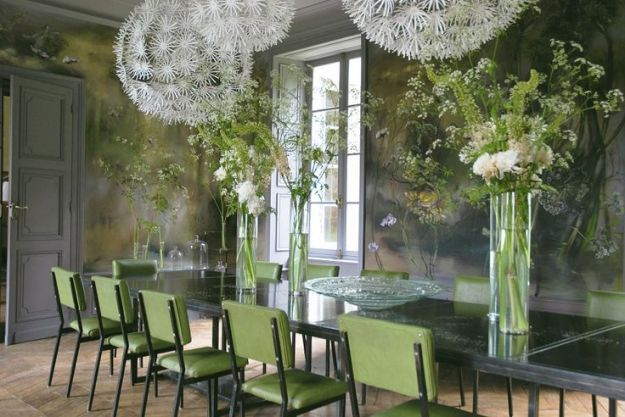 painter Claire Basler's dining room in home/studio outside Paris