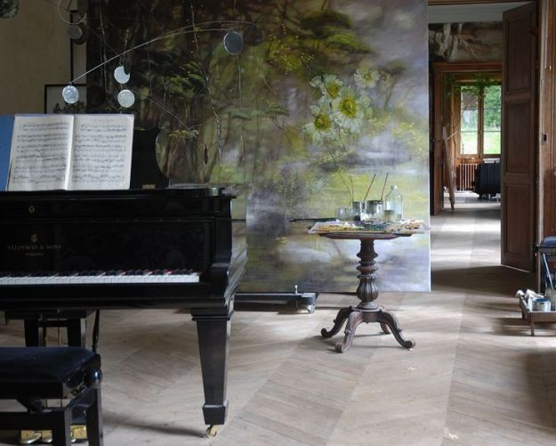 large painting in artist Claire Basler's home/studio in Les Ornes near Paris