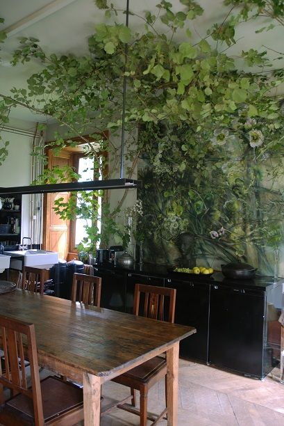 Claire Basler's kitchen in home/studio in renovated school house in Les Ornes outside Paris