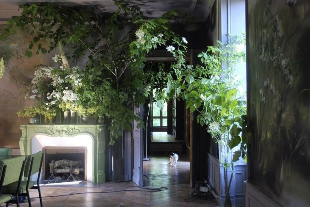 dining room in artist Claire Basler's home/studio outside Paris